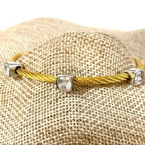 Bangle Magnetic Closure Gold Silver Crystal